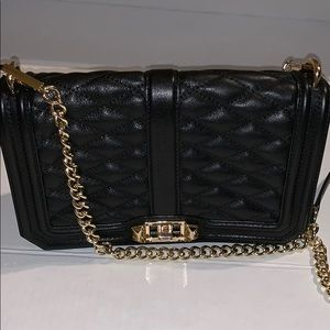 Rebecca Minkoff quilted black leather chain bag